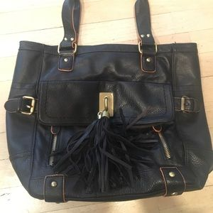 Melie Bianco Black Leather Tote Bag Purse